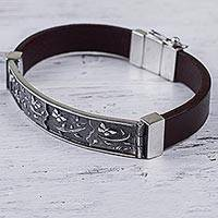 Sterling Silver And Leather Wristband Bracelet Butterfly Garden (peru)