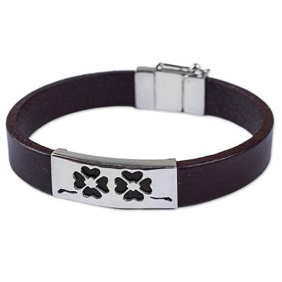Sterling Silver and Leather Wristband Bracelet from Peru
