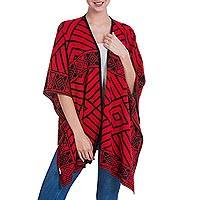Reversible alpaca blend ruana cape, 'Inca Ruby' - Reversible Alpaca Blend Andean Red and Black Ruana Cloak