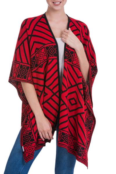 Reversible alpaca blend ruana cape, Inca Ruby