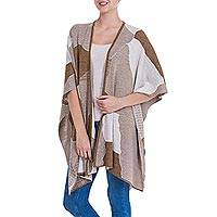 Alpaca blend ruana cape, 'Desert Montage' - Knitted Alpaca Blend Andean Ruana Cloak in Brown and Beige