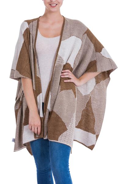 Knitted Alpaca Blend Andean Ruana Cloak in Brown and Beige