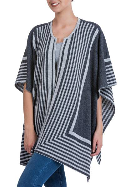 Reversible alpaca blend ruana cape, 'Parallel Roads' - Reversible Grey Striped Andean Ruana in an Alpaca Blend