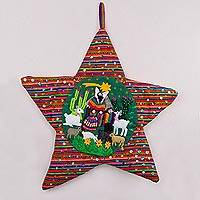 Applique wall hanging, 'Andean Christmas Star' - Handcrafted Andean Christmas Star Applique Wall Hanging