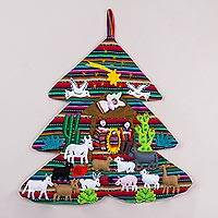 Applique wall hanging, 'Andean Christmas Tree' - Handcrafted Andean Christmas Tree Applique Wall Hanging