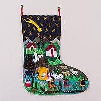 Applique Christmas stocking, 'Village Nativity' - Handcrafted Andean Applique Christmas Stocking