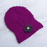 100% alpaca hat, 'Boysenberry Floral Cloche' - Hand Knitted Alpaca Cloche Hat in Purple with Grey
