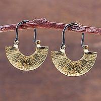 Gold plated hoop earrings, 'Rustic Sipan' - Artisan Crafted Rustic Gold Plated Sterling Silver Earrings