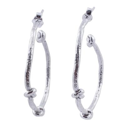 Half Hoop Earrings Artisan Crafted Sterling Silver Jewelry