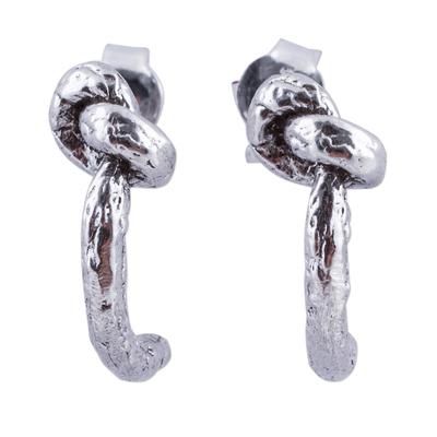 925 Sterling Silver Knot Design Half Hoop Earrings from Peru