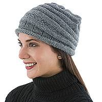 100% alpaca hat, 'Charcoal Ridges' - Hand Knitted 100% Alpaca Women's Turban in Charcoal Grey