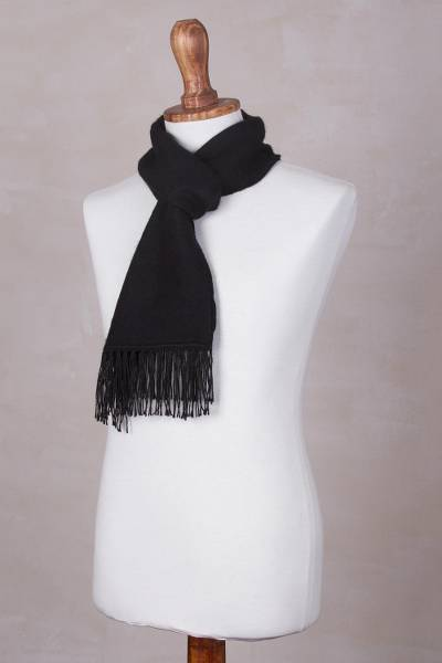 Alpaca blend scarf, 'Ebony Gift of Warmth' - Woven Alpaca Blend Scarf for Men in Solid Black