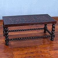 Wood and leather coffee table, 'Wiracocha' - Artisan Crafted Brown Wood and Leather Coffee Table