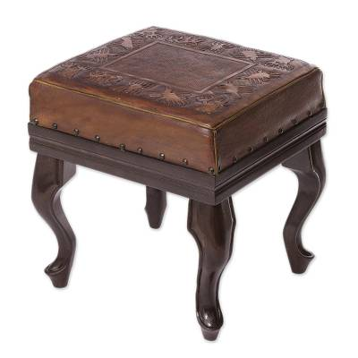 Wood and leather stool, 'Nazca Pride' - Hand Crafted Wood and Leather Bench with Nazca Line Motif