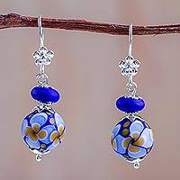 Blown glass flower dangle earrings, 'Ocean Mandala Blossoms' - Blue Blown Glass Flower Earrings Crafted by Hand in Peru