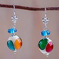 Blown glass dangle earrings, 'Circus Colors' - Multicolor Blown Glass Earrings with 925 Sterling Silver