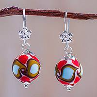Blown glass dangle earrings, 'Murano Charm' - Artisan Crafted Blown Glass Earrings with Sterling Silver