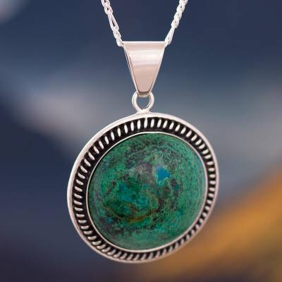 Chrysocolla pendant necklace, 'Moon Over Lima' - Andean Chrysocolla Sterling Silver Pendant Necklace
