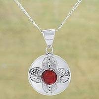 Carnelian pendant necklace, 'Perpetual Petals' - Andean Silver and Carnelian Artisan Crafted Flower Necklace