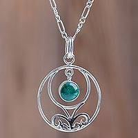 Chrysocolla pendant necklace, 'Halo of Grace' - Andean Chrysocolla Handcrafted Sterling Silver Necklace