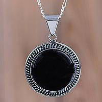 Obsidian pendant necklace, 'Moon Over Lima' - Sterling Silver Pendant Necklace with Andean Obsidian