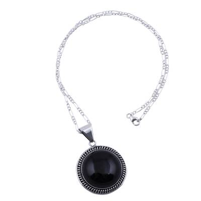 Sterling Silver Pendant Necklace with Andean Obsidian