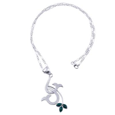 Natural Chrysocolla Andean Sterling Silver Necklace
