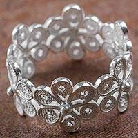 Sterling silver band ring, 'Belt of Flowers' - Hand Crafted Sterling Silver Floral Band Ring from Peru