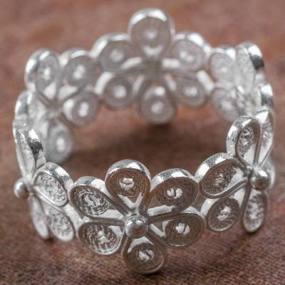 Hand Crafted Sterling Silver Floral Band Ring from Peru