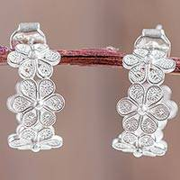 Sterling silver filigree half-hoop earrings, 'Falling Flowers' - Andean Silver Filigree Artisan Crafted Half Hoop Earrings