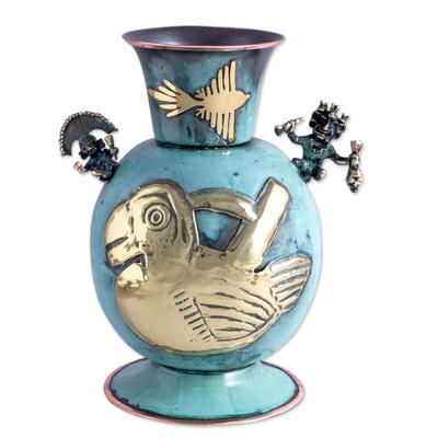 Inca Theme Bronze and Copper Decorative Vessel from Peru