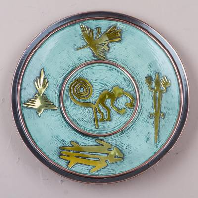 Copper and bronze decorative plate, 'Memories of Nazca' - Andean Decorative Copper Plate with Bronze Nazca Images