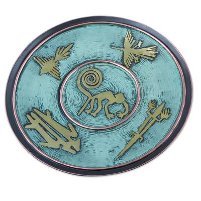 Andean Decorative Copper Plate with Bronze Nazca Images