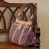Leather accented wool blend shoulder bag, 'Andean Journey' - Leather Accented Striped Wool Blend Shoulder Bag