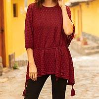 100% alpaca poncho, 'Red Waves' - Knit Alpaca Poncho with Tassels in Cherry Red from Peru