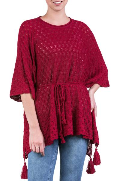 Knit Alpaca Poncho with Tassels in Cherry Red from Peru