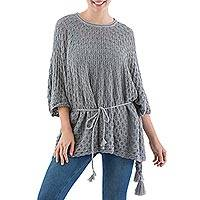 100% alpaca poncho, 'Grey Waves' - Knit Alpaca Poncho with Tassels in Smoke Grey from Peru
