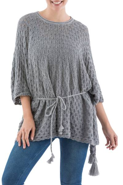 Knit Alpaca Poncho with Tassels in Smoke Grey from Peru