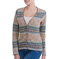 100% alpaca cardigan, 'Peruvian Passion in Tan' - 100% Alpaca Cardigan in Tan Floral Motifs from Peru