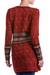 100% alpaca cardigan, 'Wine Red Romance' - 100% Alpaca Cardigan in Wine Floral Motifs from Peru (image 2c) thumbail