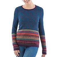 100% alpaca pullover sweater, 'Andean Flowers in Eggplant' - 100% Alpaca Wool Pullover Floral Motifs in Eggplant Peru