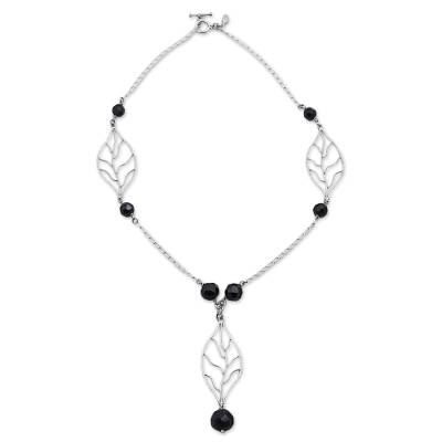 Sterling Silver and Obsidian Pendant Y Necklace from Peru