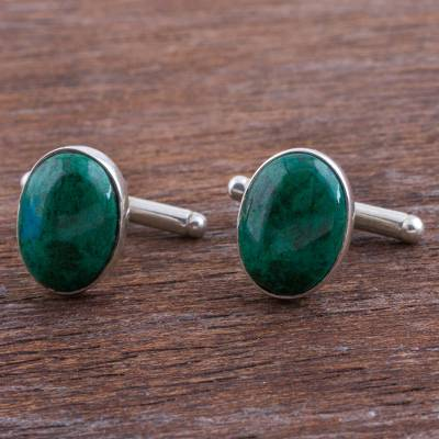Chrysocolla cufflinks, 'Oval Green' - Sterling Silver and Chrysocolla Cufflinks from Peru