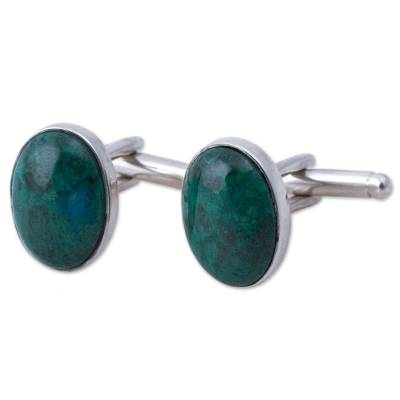 Sterling Silver and Chrysocolla Cufflinks from Peru
