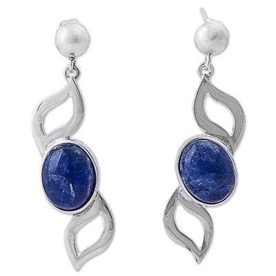 Sterling Silver and Sodalite Dangle Earrings from Peru