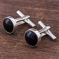 Obsidian cufflinks, 'Dark Circles' - Sterling Silver and Obsidian Cufflinks from Peru
