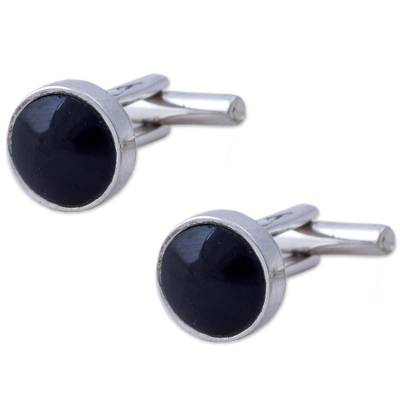Sterling Silver and Obsidian Cufflinks from Peru