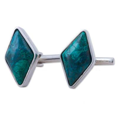 Sterling Silver and Chrysocolla Rhombus Cufflinks from Peru