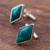 Chrysocolla cufflinks, 'Cool River' - Sterling Silver and Chrysocolla Rhombus Cufflinks from Peru (image 2c) thumbail