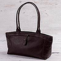 Leather baguette handbag, 'Espresso Style' - Espresso Brown Baguette Bag Crafted of Quality Leather